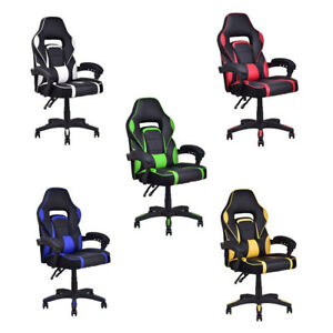 Office Executive High Back Racing Pattern Pu Leather Work Home Gaming Chair