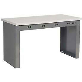 60 w X 36 d Panel Leg Workbench With Power Apron And Shop Top Square Edge Top
