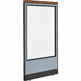 Interion Deluxe Office Cubicle Panel With Full Window Pass thru Cable 36 1 4