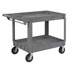 Large Deluxe 2 Shelf Plastic Utility Service Cart 6 Pneumatic Casters