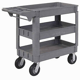 Small Deluxe 3 Shelf Plastic Utility Service Cart 6 Pneumatic Casters