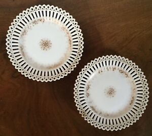 Pair German Reticulated Porcelain Plates W H Plummer New York White Gold
