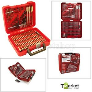 100 pc Craftsman Steel Drill Bit Driver Kit Drilling Tools Set Accessory W Case