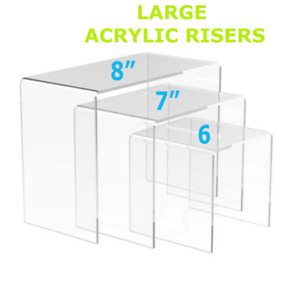 Set Of 3 Different Large Sized Acrylic Square Riser Jewelry Display Stands