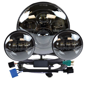 7 Led Headlight passing Lights Ring Mount For Harley Touring Black