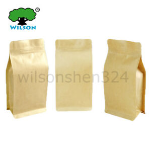 Kraft Side Gusset Flat Bottom Stand up Zip Bags 50 300 Pcs Include Samples