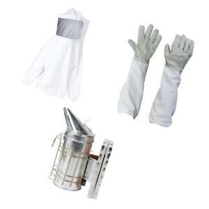 Beekeeping Suit Jacket Veil Sheepskin Gloves Bee Hive Smoker Tool Set