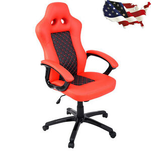 Race Car Style High Back Reclining Office Chair Swivel Stool Gaming Chair Orange