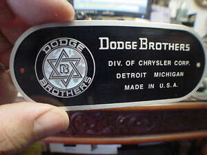 Dodge Brothers Detroit Color Firewall Data Plate Acid Etched Aluminum 1920s 40s