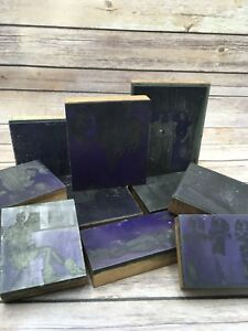 Lot 10 Vintage Printer s Block Wood Metal Photo Negatives Wisconsin Oconomowoc