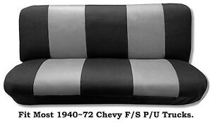 Mesh Black Gray This Seat Cover Fit Most 1940 72 Chevy Full Size Trucks Models