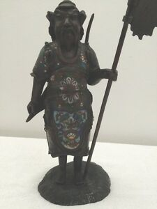 Fine Antique Chinese Bronze Clasonne Figure Of A Warrior