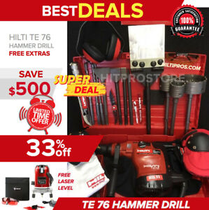 Hilti Te 76 Hammer Drill Preowned Free Laser Level Bits Extras Quick Ship