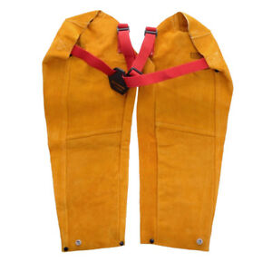 Adjustable Welding Sleeves Protective Fire Resistant Cowhide Leather Yellow