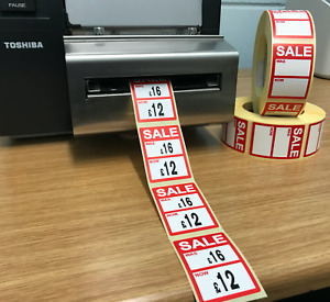 Red Sale Was Now Price Stickers Labels For Use With Thermal Printers