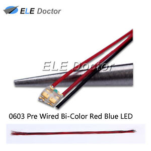 100pcs 0603 1608 Red Blue Light Smd Pre wired Led Diodes Soldered 20cm Length