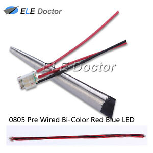100pcs 0805 2012 Red Blue Light Smd Pre wired Led Diodes Soldered 20cm Length