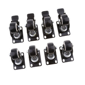 8pieces 1 5 Swivel Castor Wheels Trolley Furniture Caster With Brake Black