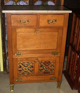Antique Quartered Quarter Sawn Oak Marble Top Barber S Cabinet 15432