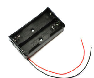 5pcs Black Plastic Battery Storage Case Box Holder For 2x18650 6 Wire Leads