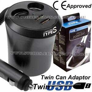 Type S 12v Car 2 Way Cigarette Lighter Multi Socket Twin Usb Can Power Adapter