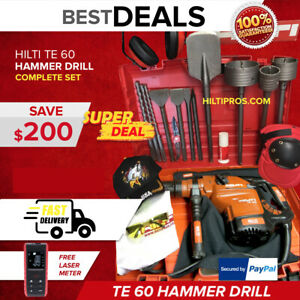 Hilti Te 60 Hammer Drill Preowned Free Laser Core Bits Extras Fast Ship