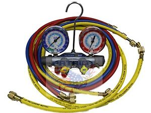 Yellow Jacket 49987 Titan 4 valve Manifold With 60 Hoses R22 134a 404a f