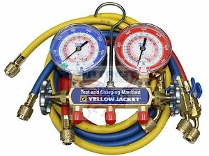 Yellow Jacket 42201 Manifold 3 1 8 Gauges 60 Hose Psi R22 404a 410a f
