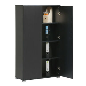 Black Home Office Storage Cupboard 2 Door Locking Bookcase Cabinet Tall Unit