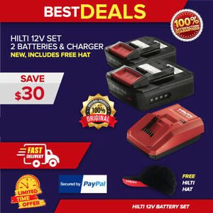 Hilti C 4 12 50 Charger 2 Pack B12 2 6 Batteries New Free Hat Fast Ship