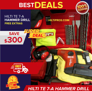 Hilti Te 7 a Cordless Drill Free Bits Chisels Hat More Fast Ship