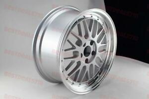 18x8 0 Square Silver Machine Face Lm Style Rims Wheels Fits Corolla 5x100 Vw