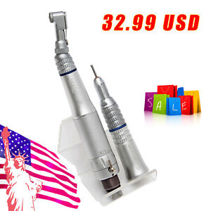 Nsk Style Dental Low Speed Contra Angle Straight Air Motor Handpiece 4hole Teeth