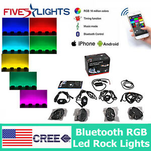 4x Led Rock Lights Aluminum Wireless Bluetooth Rgb Color Mini Accent Under Car