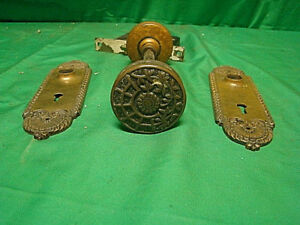 Antique Stunning Brass Victorian Front Entry Door Knob Set Inside