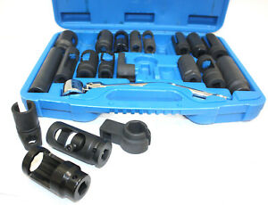 21pc Automotive Master Oxygen O2 Sensor Special Sending Unit Socket Set