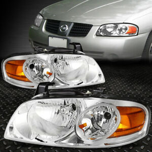 For 2004 2006 Nissan Sentra Pair Chrome Housing Amber Corner Headlight lamp Set