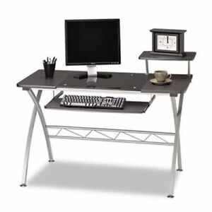 Mayline Eastwinds Vision Computer Desk Anthracite With Black Glass mln972ant