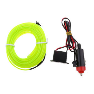 12v Green Neon Led Light Glow El Wire String Strip Rope Tube For Car 3m