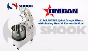 Omcan 41549 Commercial Spiral Dough Mixers With Raising Head Removable Bowl