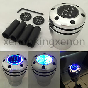 Jdm Manual Transmission Blue Led Light Silver Sport Gear Stick u19 Shift Knob