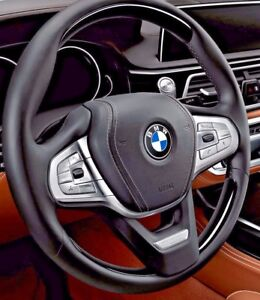 Bmw G11 G12 G30 5 7 Series Piano Black Wood Leather Steering Wheel Individual