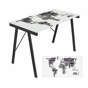 Small Office Desk Glass Top World Map Print Kids Study Table Bedroom Furniture