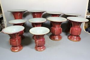 Beautiful Chinese Jun Kiln Red Porcelain 10 Vases