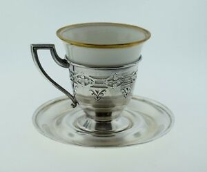Moore Hofman Sterling Silver Pierced Cup Saucer W Porcelain Liner Germany