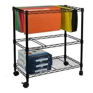 1 2 Tier Layer Metal Rolling Mobile File Cart Office Supplies Black