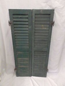 Pair Antique Window Wood Louvered Shutters Shabby Old Chic Vintage 48x12 540 17p
