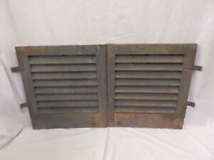 Pair Antique Small Window Wooden Louvered Shutters Shabby Vtg Chic 20x18 546 17p