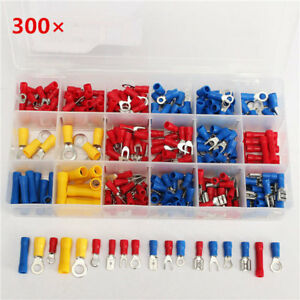 300pcs Insulated Electrical Wire Terminals Crimp Connector Spade Kits