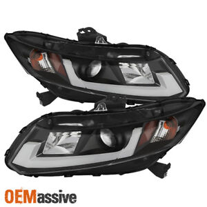 Fits 12 15 Honda Civic Black Light Bar tube Design Drl Led Projector Headlights